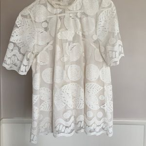 Anthropologie lemon lace blouse